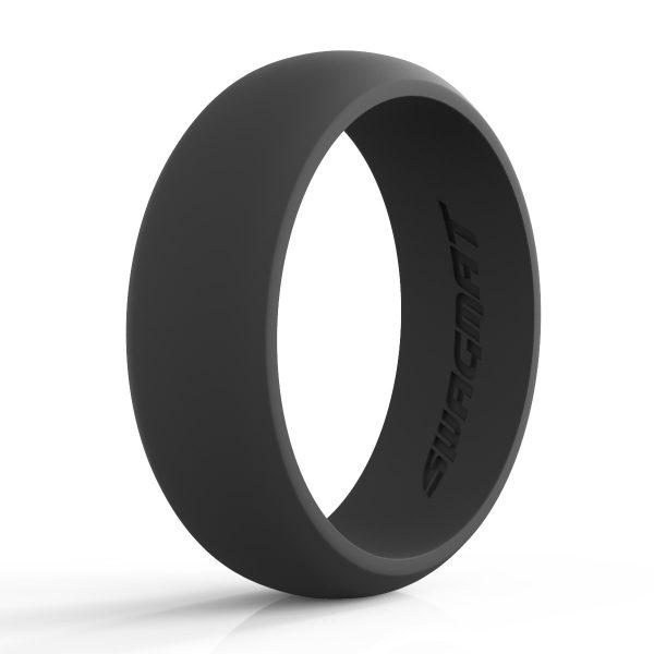 8 mm Mineshaft Black Silicone ring for men
