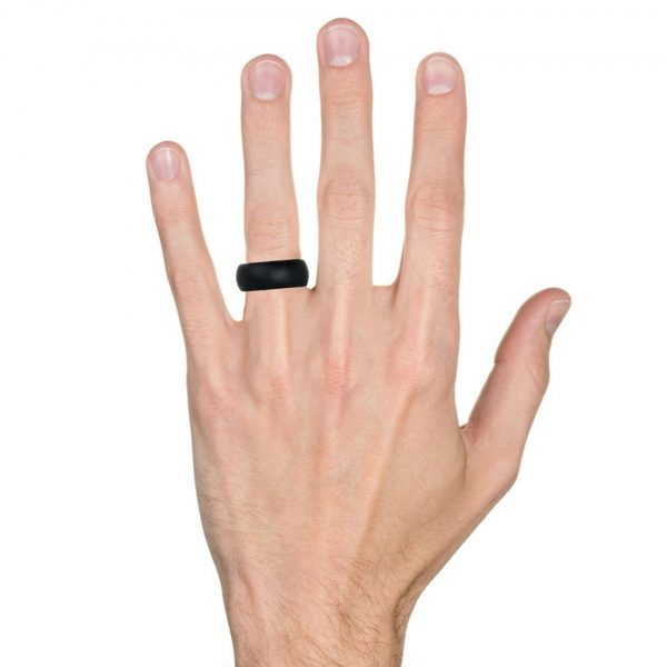 Silicone ring in a man's hand