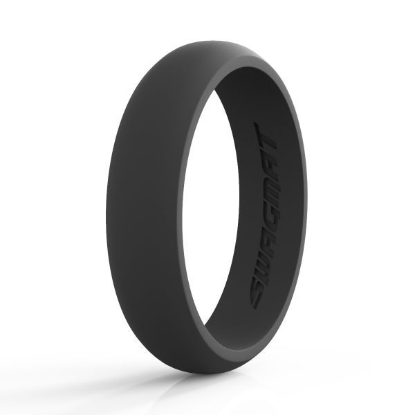 5mm Mineshaft Black Women Silicone ring
