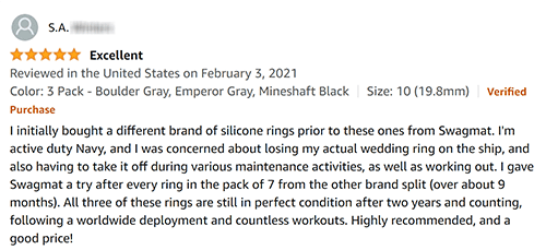 Review of Swagmat customer service for silicone rings