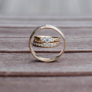 Metal engagement and wedding rings